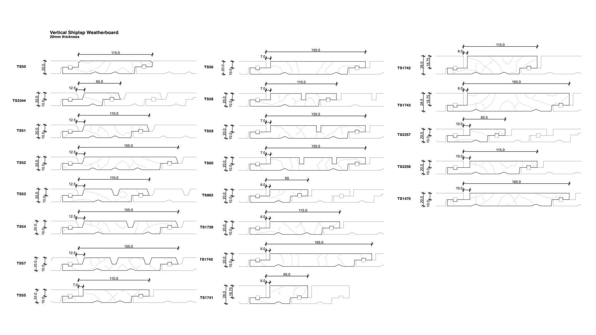 TS Profiles - Vertical shiplap